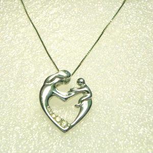 Jewelry - 10K White Gold & Diamond Mother & Child Necklace